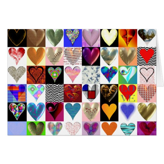 48 Hearts on a Greeting Card