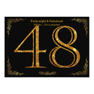 48th Birthday party,Gatsby styl,black gold glitter 13 Cm X 18 Cm Invitation Card