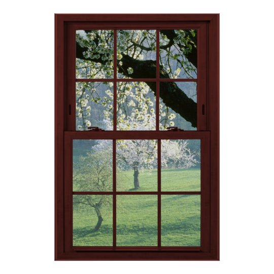 48x32 Frosted Glass Cherry Wood Faux Window Poster