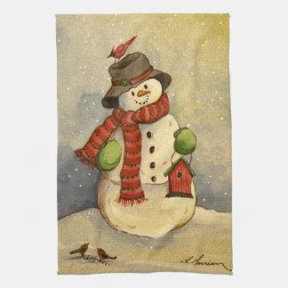 4905 Snowman & Birdhouse Christmas Tea Towel