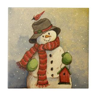 4905 Snowman & Birdhouse Christmas Tile