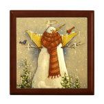 4907 Snow Angel & Birds Christmas Large Square Gift Box