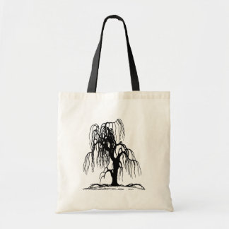 4920 SCARY WEEPING WILLOW TREE BLACK SILHOUETTE GR CANVAS BAGS