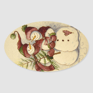 4924 Snowmen Christmas Oval Sticker