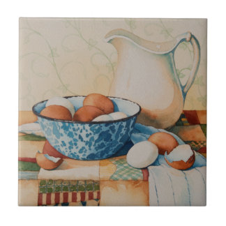 4925 Eggs in Enamelware Bowl with Pitcher Tile