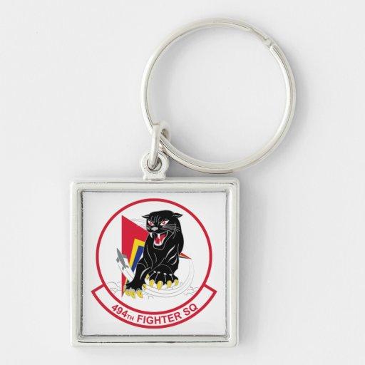 494th Fighter Squadron Silver-Colored Square Key Ring