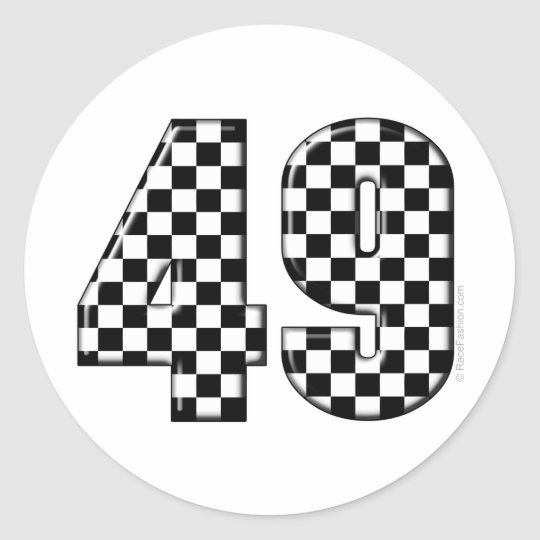 49 chequered number classic round sticker