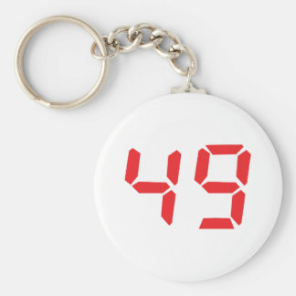 49 fourty-nine red alarm clock digital number basic round button key ring