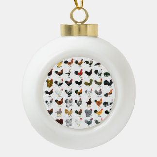 49 Roosters Ceramic Ball Decoration