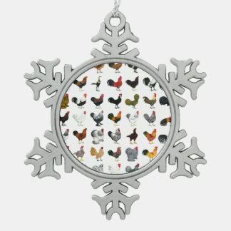 49 Roosters Pewter Snowflake Decoration