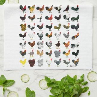 49 Roosters Tea Towel