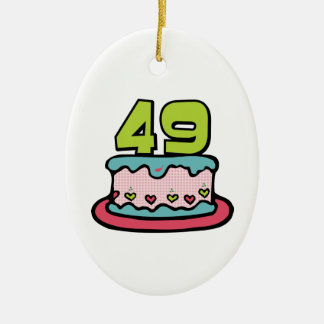 49 Year Old Birthday Cake Ceramic Oval Decoration