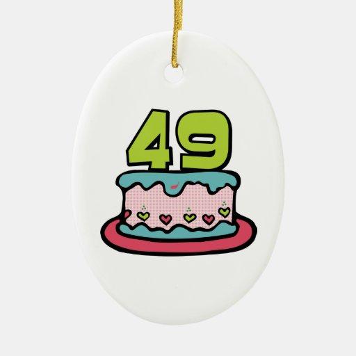 49 Year Old Birthday Cake Christmas Ornament
