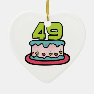 49 Year Old Birthday Cake Double-Sided Heart Ceramic Christmas Ornament
