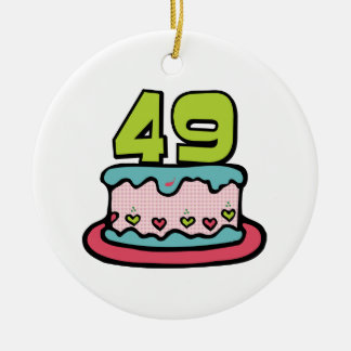 49 Year Old Birthday Cake Double-Sided Ceramic Round Christmas Ornament