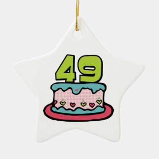49 Year Old Birthday Cake Double-Sided Star Ceramic Christmas Ornament