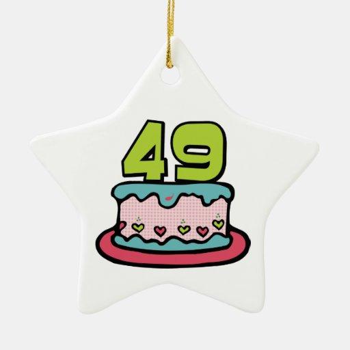 49 Year Old Birthday Cake Christmas Tree Ornament