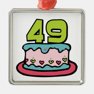 49 Year Old Birthday Cake Square Metal Christmas Ornament
