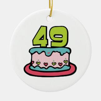 49 Year Old Birthday Cake Round Ceramic Decoration