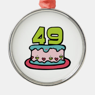 49 Year Old Birthday Cake Silver-Colored Round Decoration