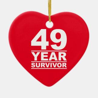 49 year survivor ceramic heart decoration
