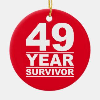 49 year survivor round ceramic decoration