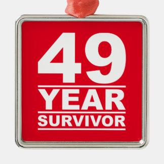 49 year survivor Silver-Colored square decoration