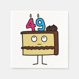 49th Birthday Cake with Candles Paper Napkins