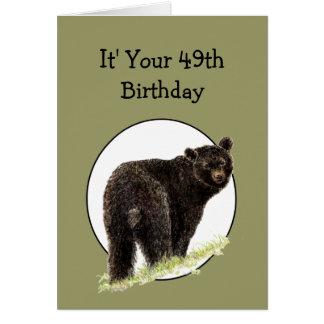 49th Birthday Fun Black Bear - Grin and Bear it Card