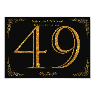 49th Birthday party,Gatsby styl,black gold glitter 13 Cm X 18 Cm Invitation Card