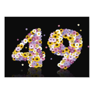 49th Birthday party, with flowered letters Personalized Announcement