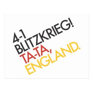 4-1 Victory Blitzkrieg! Ta-ta, England. Postcard