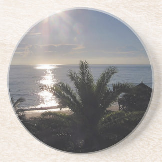 4.25 inch sandstone coasters with palm tree sunset