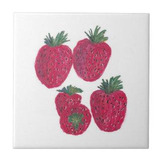 "4.25""x4.25""Ceramic Tile, Coaster - Strawberries"