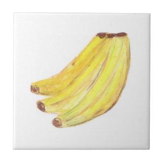 "4.25"" x 4.25"" Ceramic Tile, Coaster - Bananas Small Square Tile"