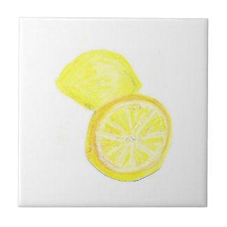 "4.25"" x 4.25"" Ceramic Tile, Coaster - Lemons"