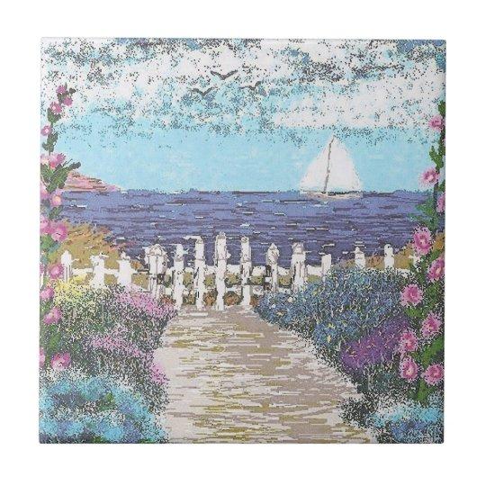 """4.25"""" x 4.25"""" Ceramic Tile, Coaster - Ocean"""