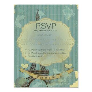 "4.25x5.5"" Grunge Retro Paris RSVP Wedding Card 11 Cm X 14 Cm Invitation Card"