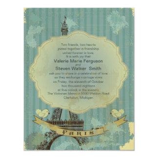 "4.25x5.5"" Grunge Retro Paris Wedding Invitation"