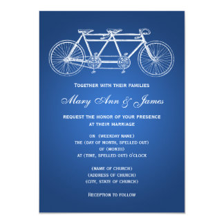 4.5 x 6.25 Simple Wedding Tandem Bike Blue Card