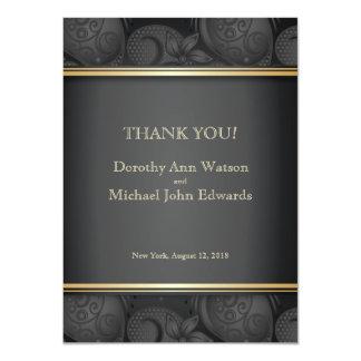 4.5x6.25 Black Luxury Floral Wedding Thank You Ca 11 Cm X 16 Cm Invitation Card