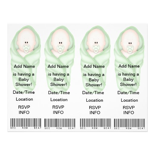 4  Baby Shower Invitations - Bookmark Favors Flyer Design