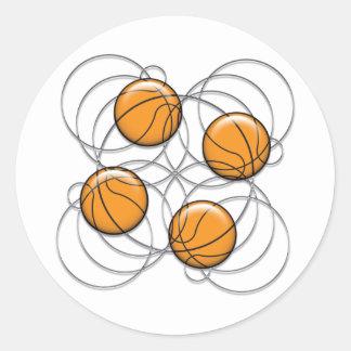 4 Basketball Pattern - 3D Round Sticker