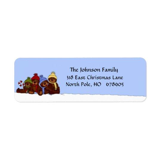 4 bear family Christmas return address labels