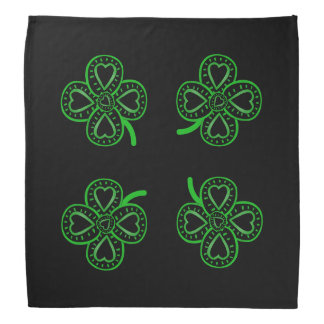 4 Black Green Clovers Hearts St Patrick's Bandana