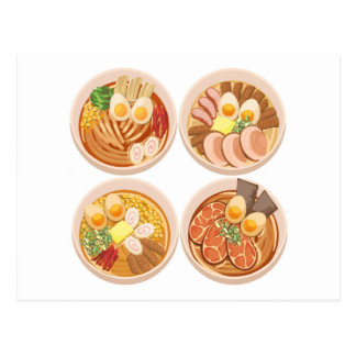 4 Bowls of Ramen Postcard