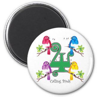 4 Calling Birds 6 Cm Round Magnet