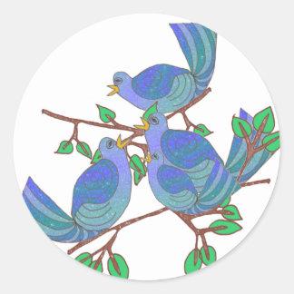 4 Calling Birds Classic Round Sticker