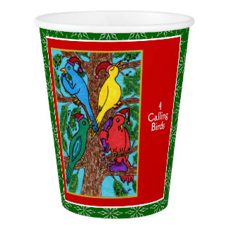 4 Calling Birds Cute Animals 12 Days of Christmas Paper Cup