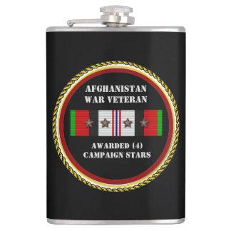 4 CAMPAIGN STARS AFGHANISTAN WAR VETERAN FLASK